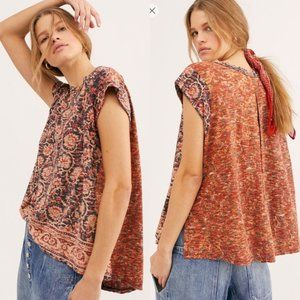 Free People High Tide Dual Print T-Shirt Midnight Oversized Large L